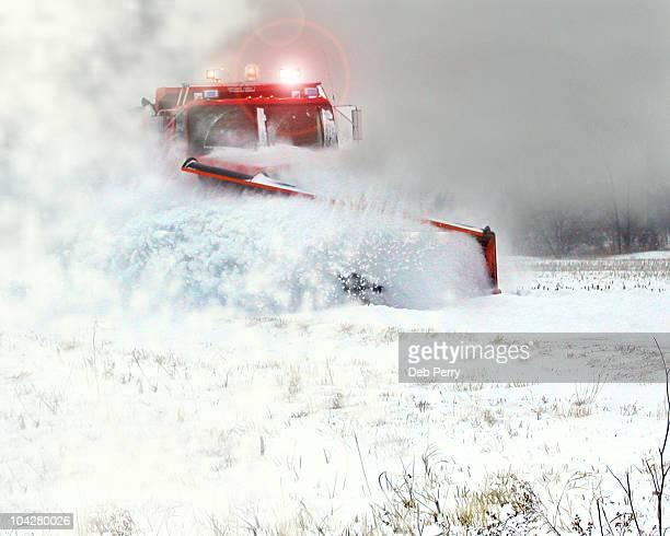 snow plow - schneefahrzeug stock-fotos und bilder
