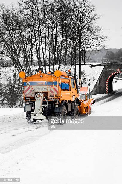 snow plow - road salt stock pictures, royalty-free photos & images
