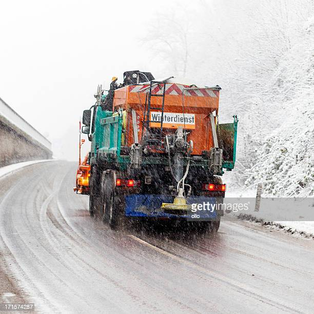 snow plow - winter road conditions - road salt stock pictures, royalty-free photos & images