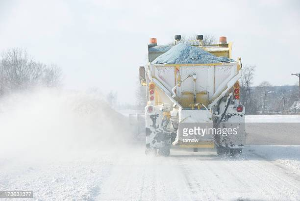 snow plow working - road salt stock pictures, royalty-free photos & images