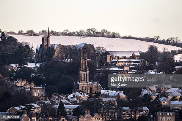 Snow remains from an overnight fall settles on the rooftops of buildings on January 14 2015 in Bath England Snow has fallen in some parts of the UK...