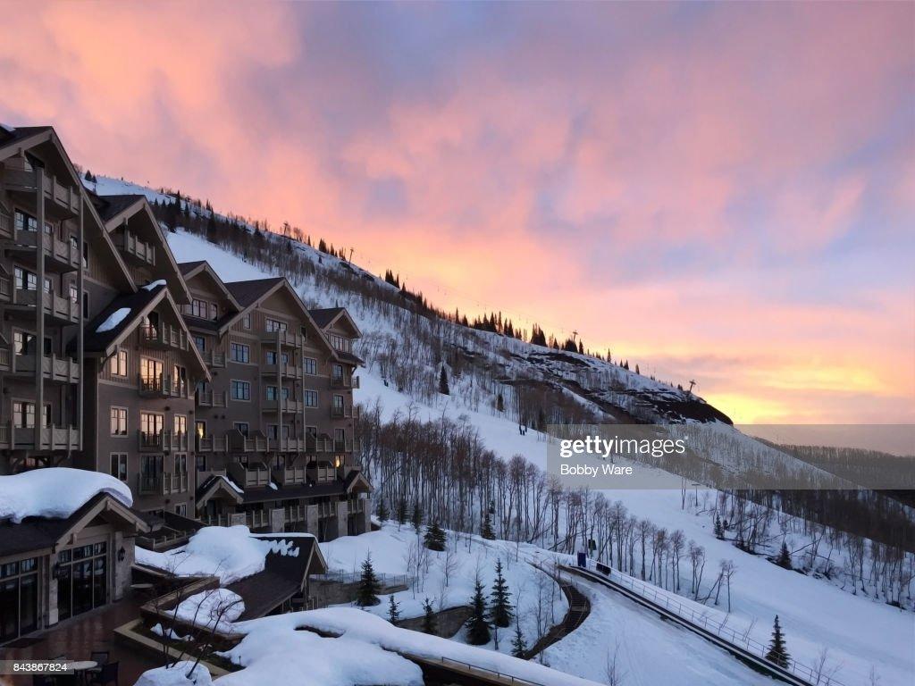 雪のリゾート : ストックフォト