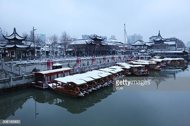 Snow scene are seen at Confucius Temple on January 21 2016 in Nanjing Jiangsu Province of China Jiangsu Province encountered heavy snow in south...