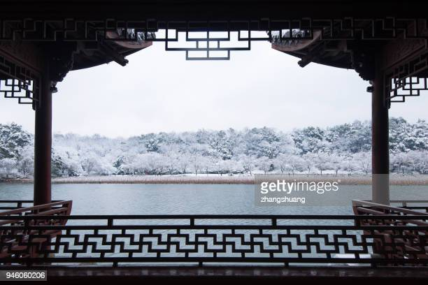 snow scenery in hangzhou westlake - oudheden stockfoto's en -beelden