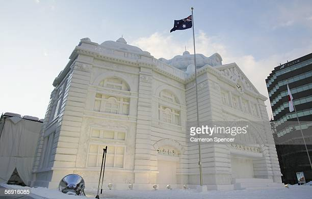 A snow sculpture of Australia's Flinders Street Station is displayed at Odori Koen during the 57th Sapporo Snow Festival February 12 2006 in Sapporo...
