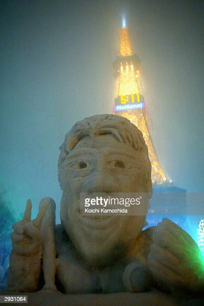 A snow sculpture of New York Yankee outfielder Hideki Matsui is seen at the Sapporo Snow Festival on its opening day February 5 2004 in Sapporo Japan...