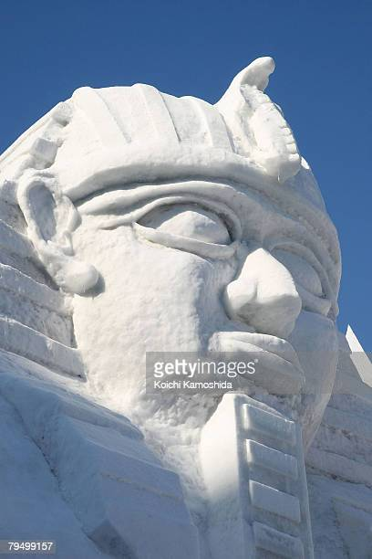 A snow sculpture of the Great Sphinx of Giza is displayed at Odori Park on February 4 2008 in Sapporo Japan The 59th Sapporo Snow Festival takes...