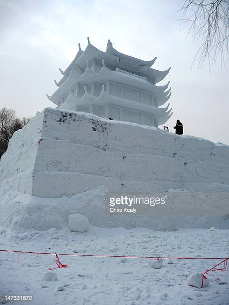 snow sculpture - harbin ice festival stock pictures, royalty-free photos & images