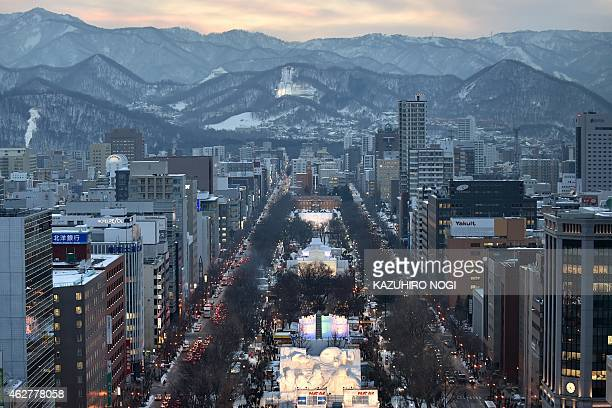Snow sculptures are lit up during the 66th annual Sapporo Snow Festival on February 5 2015 The weeklong festival will last until February 11 AFP...