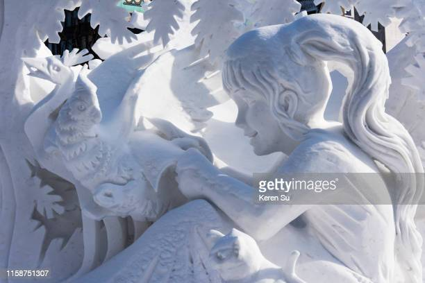 snow sculptures at sapporo snow festival - sapporo snow festival stock pictures, royalty-free photos & images