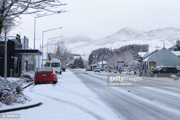 Snow settles in the township of Lumsden on July 12 2017 in Invercargill New Zealand Snow is falling across the South Island of New Zealand as a polar...