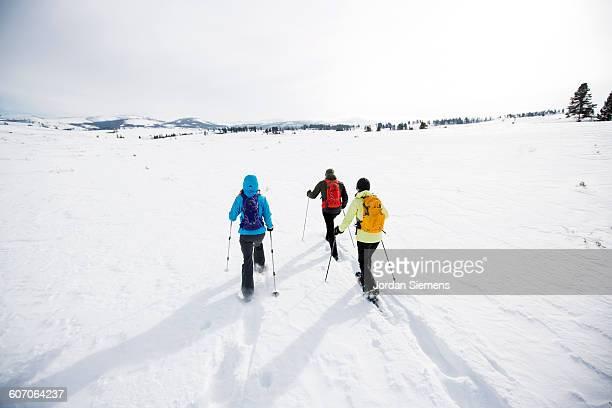 snow shoeing in the winter - ウィンタースポーツ ストックフォトと画像