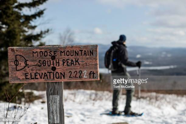snow shoer takes in the view. - appalachian trail stock photos and pictures