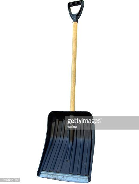 snow shovel isolated on white - snow shovel stock photos and pictures