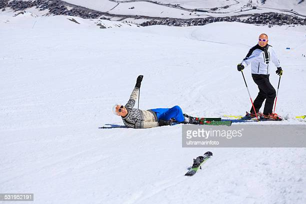 Snow Skiing Accident  Falling