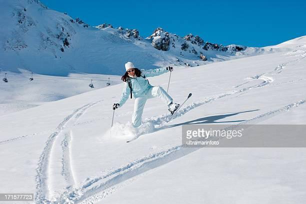 ski sur neige - chute ski photos et images de collection