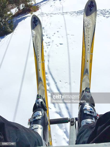 Snow skis on chair lift Telluride Colorado 22015