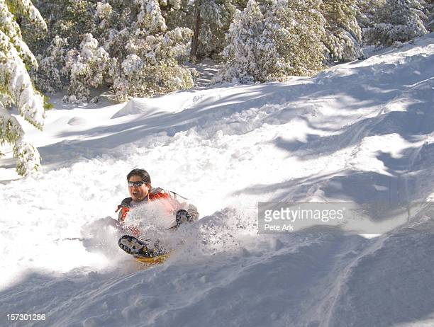 snow sledding - mount baldy stock photos and pictures
