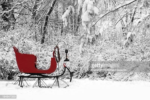 snow sleigh - sleigh stock photos and pictures