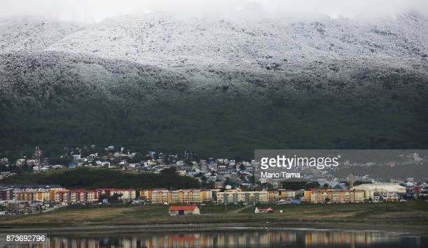 Snow stands above a section of the city on November 4 2017 in Ushuaia Argentina Ushuaia is situated along the southern edge of Tierra del Fuego in...