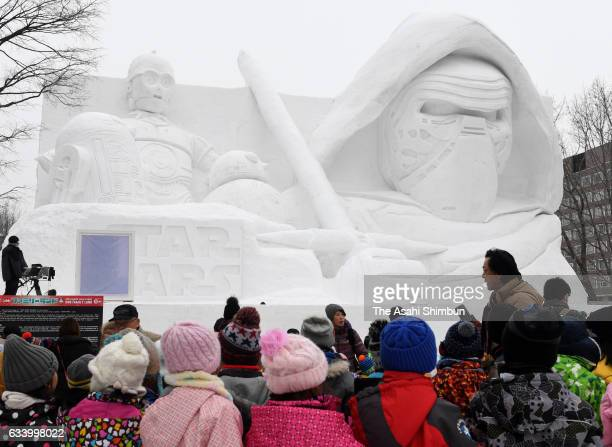 A snow statue featuring Star Wars characters is on display during the 68th Sapporo Snow Festival begins at Odori Park on February 6 2017 in Sapporo...