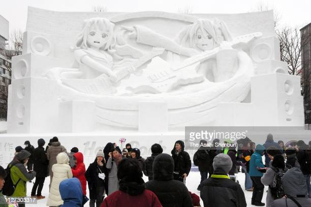 A snow statue is displayed as the Sapporo Snow Festival begins on February 04 2019 in Sapporo Hokkaido Japan