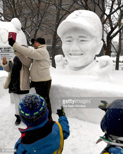 A snow statue of baseball player Kotaro Kiyomiya is displayed during the 69th Sapporo Snow Festival on February 5 2018 in Sapporo Hokkaido Japan The...