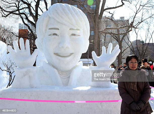 Snow statue of figure skater Yuzuru Hanyu is seen during the 66th Sapporo Snow Festival at Odori Park on February 5 2015 in Sapporo Japan The annual...