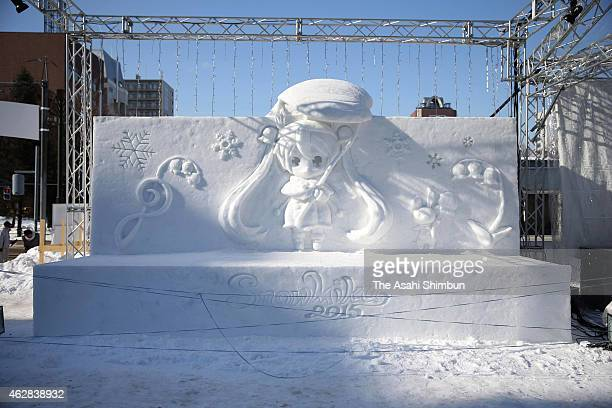 Snow statue of 'Hatsune Miku' is seen during the 66th Sapporo Snow Festival at Odori Park on February 6 2015 in Sapporo Japan The annual festival...