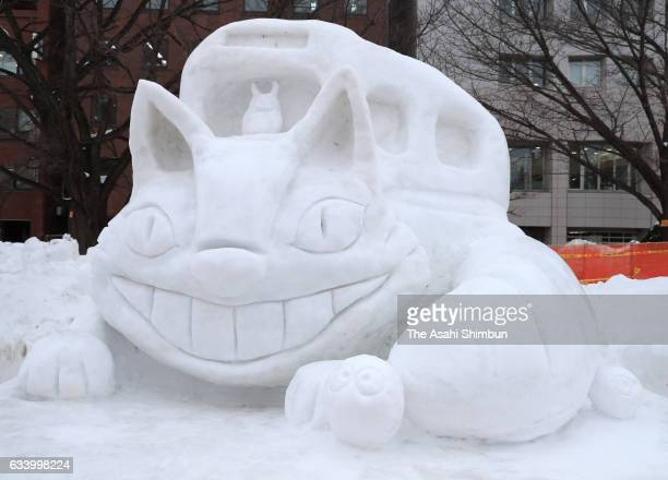 A snow statue of Neko Bus is on display during the 68th Sapporo Snow Festival begins at Odori Park on February 6 2017 in Sapporo Hokkaido Japan The...