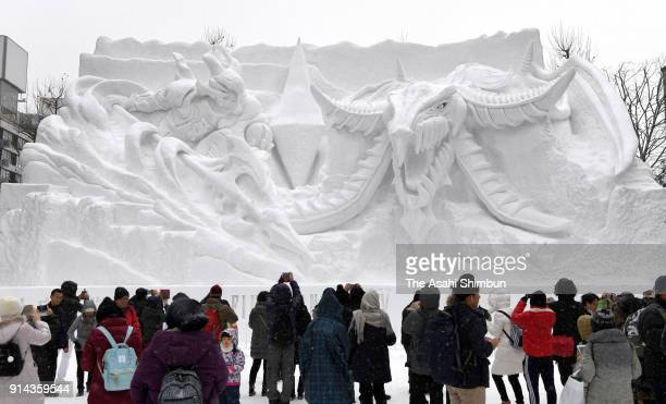 A snow statue of popular video game series Final Fantasy is displayed during the 69th Sapporo Snow Festival on February 5 2018 in Sapporo Hokkaido...