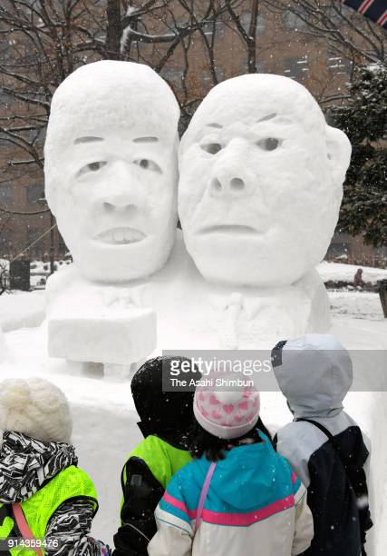 Snow statue of shogi players Hifumi Kato and Sota Fujii is seen during the 69th Sapporo Snow Festival on February 5 2018 in Sapporo Hokkaido Japan...
