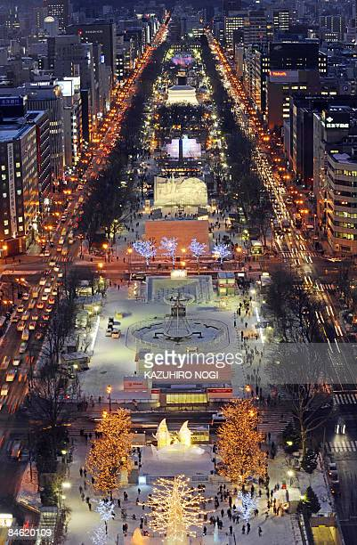 Snow statues and Ice sculptures are lit up at Odori park in central Sapporo on February 4, 2009. The 60th Sapporo Snow Festival will be held on...