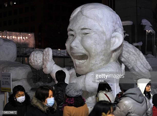 Snow statues are displayed at the 63rd Sapporo Snow Festival site at Odori Park on February 5 2012 in Sapporo Hokkaido Japan The festival will be...