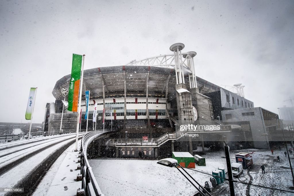 snow, storm, bad weather, possibly postponed during the Dutch Eredivisie match between Ajax Amsterdam and PSV Eindhoven at the Amsterdam Arena on December 10, 2017 in Amsterdam, The Netherlands