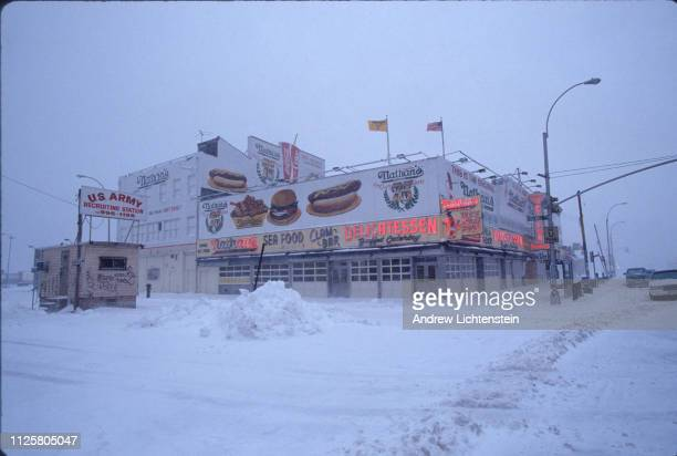 A snow storm blankets Coney Island in February of 1993 in Brooklyn New York