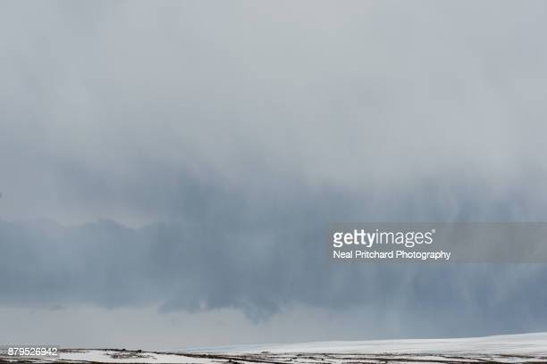 Snow storm clouds forming over Iceland