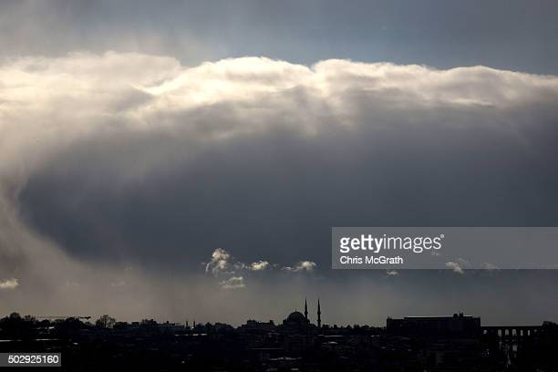 A snow storm moves over the Istanbul skyline on December 30 2015 in Istanbul Turkey Istanbul is bracing for a severe New Year's Eve snow storm The...