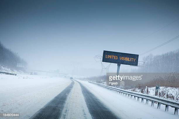 Snow storm on the highway