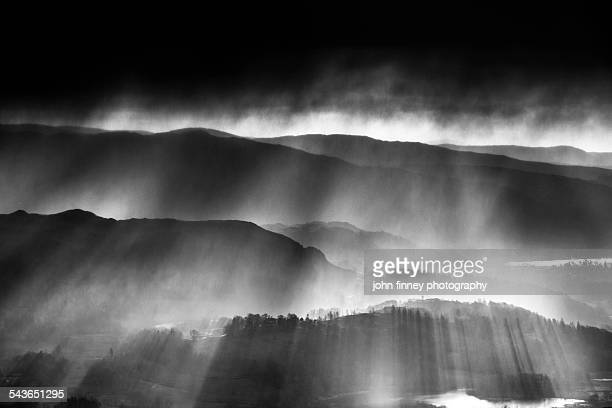 Snow storm over Elterwater, Lake District
