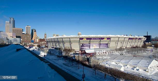 Snow surrounds the Hubert H Humphrey Metrodome Mall of America Stadium where the inflatable roof collapsed under the weight of snow during a storm...