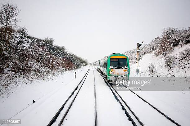 snow train - winter wonderland stock photos and pictures
