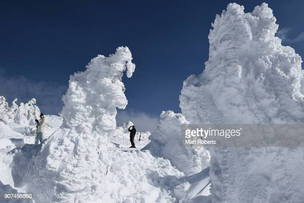 Snow trees are seen at Zao Ski Resort on January 20 2018 in Yamagata Japan The natural creation is called Ôsnow monstersÕ attract visitors on January...