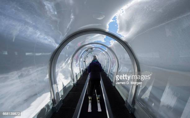 Snow tunnel lift at Val d'Isere on March 4th 2017 in France