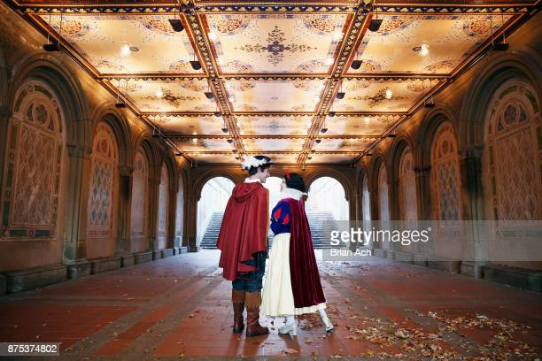 Snow White and The Prince explore Central Park's Bethesda Terrace Fountain on November 17 2017 in New York City