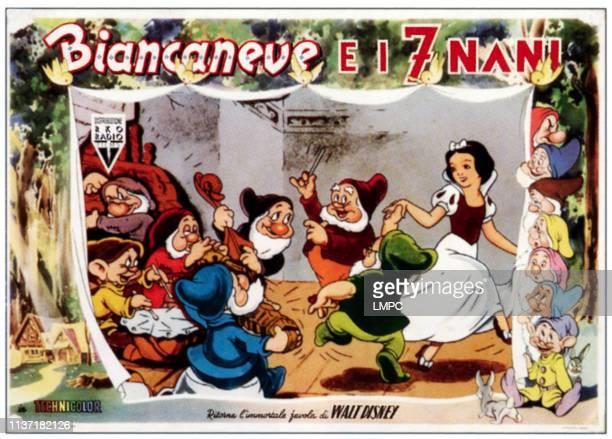 Snow White And The Seven Dwarfs lobbycard inset from left Grumpy Dopey Sleepy Sneezy Bashful Happy Doc Snow White right from top Grumpy Happy Doc...