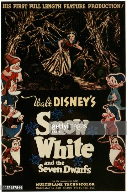 Snow White And The Seven Dwarfs poster clockwise from top center Snow White Dopey Grumpy Sleepy Bashful Happy Sneezy Doc 1937