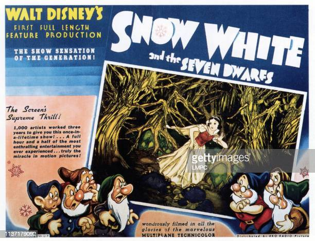 Snow White And The Seven Dwarfs poster from left Dopey Sneezy Happy Grumpy Snow White Doc Sleepy Bashful 1937
