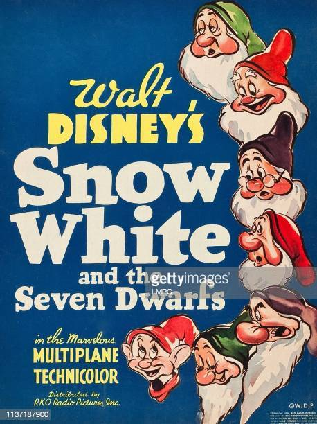 Snow White And The Seven Dwarfs poster from top Sleepy Happy Doc Sneezy Grumpy Bashful Dopey 1937