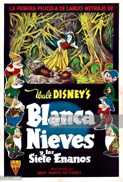 Snow White And The Seven Dwarfs poster left from top Doc Sneezy Happy Bashful top center Snow White right from top Dopey Grumpy Sleepy on Argentinean...